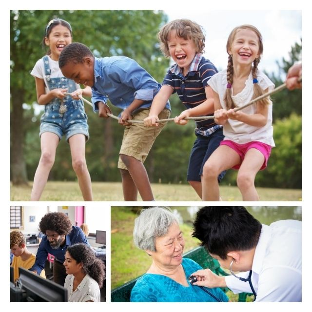 image of kids playing, teacher teaching and doctor taking care of patient
